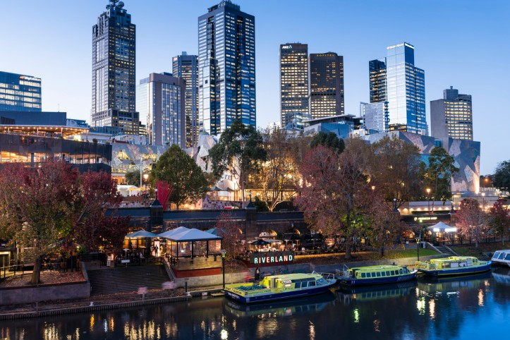 View over the Yarra River to Federation Square